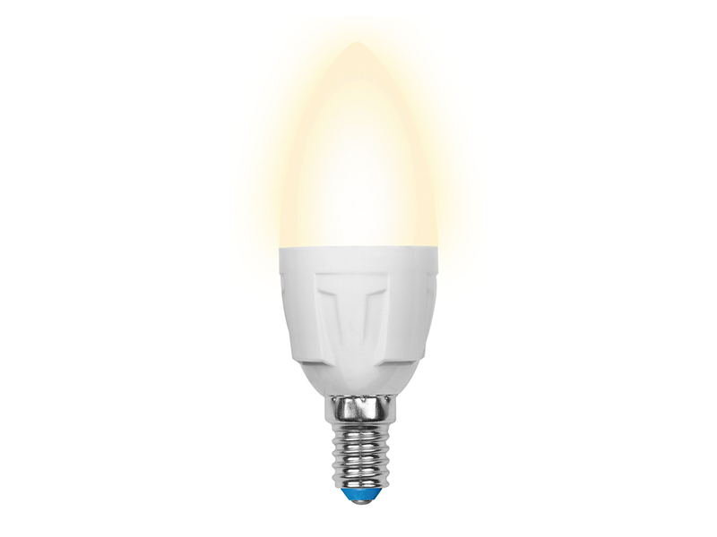 Лампочка Uniel LED C37 E14 7W 175-250V 3000K 600Lm Warm Light LED-C37-7W/WW/E14/FR PLP01WH
