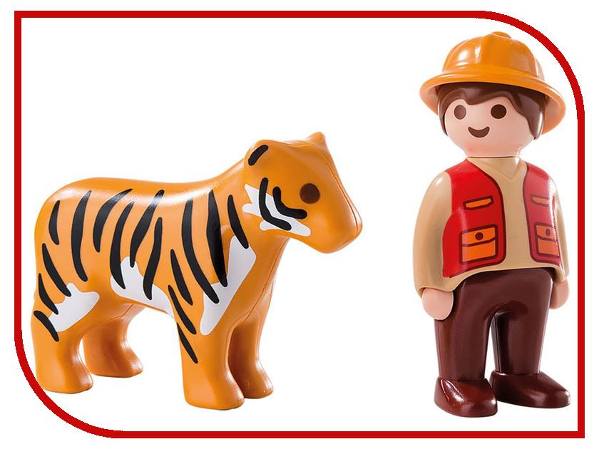 Конструктор Playmobil 1.2.3. Егерь с тигром 6976pm playmobil спасатели с носилками