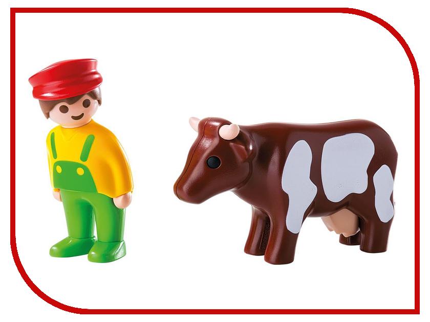 Конструктор Playmobil 1.2.3. Фермер с коровой 6972pm playmobil спасатели с носилками