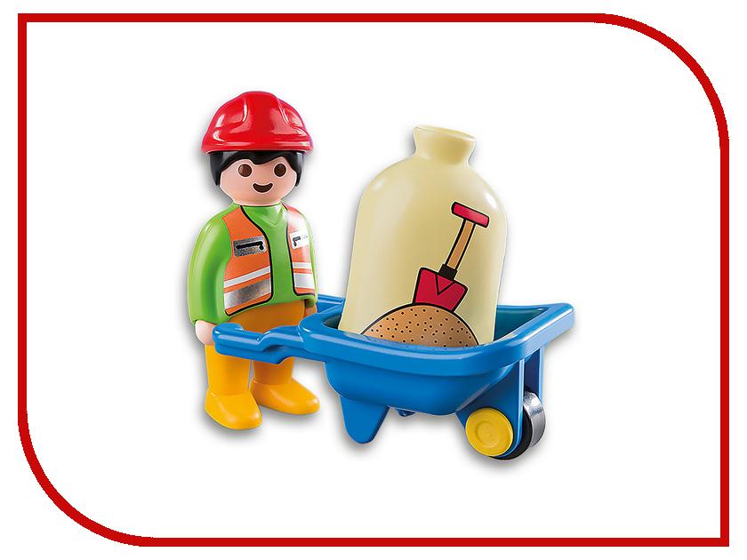 Конструктор Playmobil 1.2.3. Строитель с тачкой 6961pm конструкторы playmobil стройка строитель с отбойным молотком