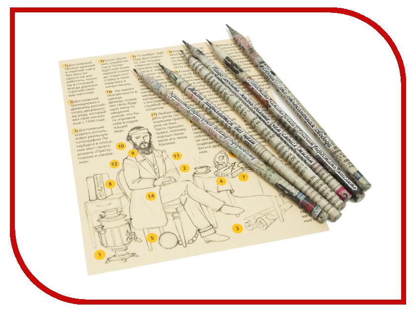 Канцелярский набор Бумажный карандаш О классиках… Достоевский 6шт Black BKH-06-01