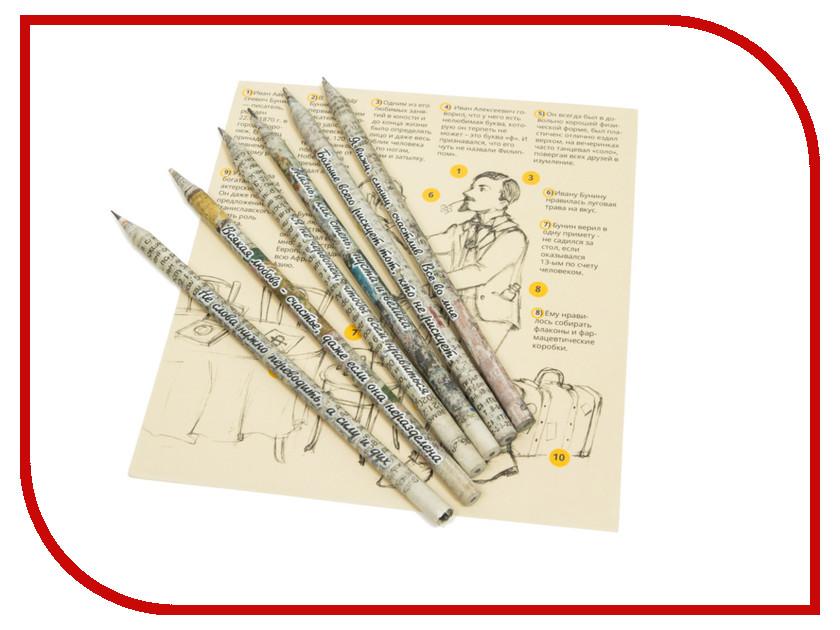 Канцелярский набор Бумажный карандаш О классиках… Бунин 6шт Black BKH-06-02