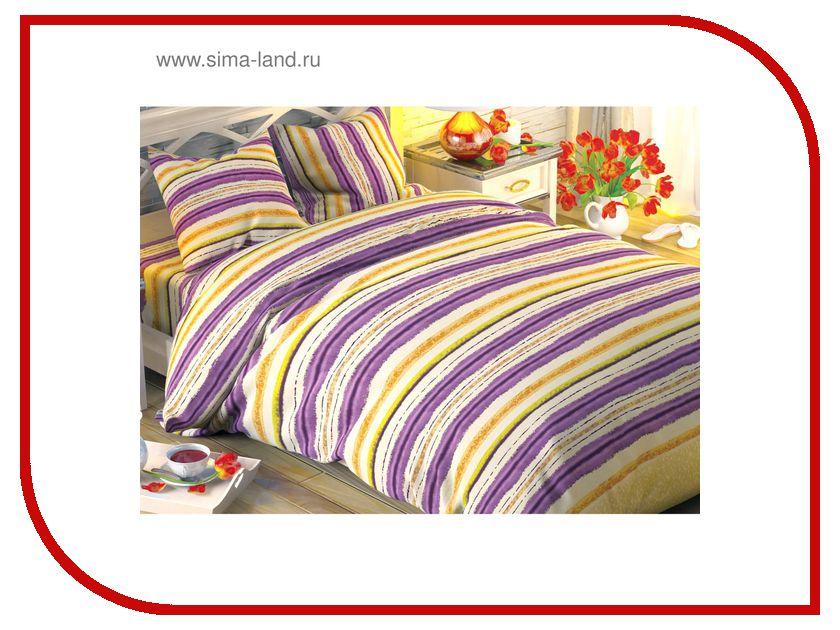 Постельное белье Этель Сиреневые полоски Комплект 1.5 спальный Поплин 1504611