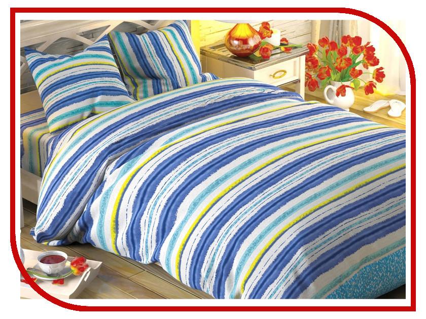 Постельное белье Этель Синие полоски Комплект 1.5 спальный Поплин 1504610
