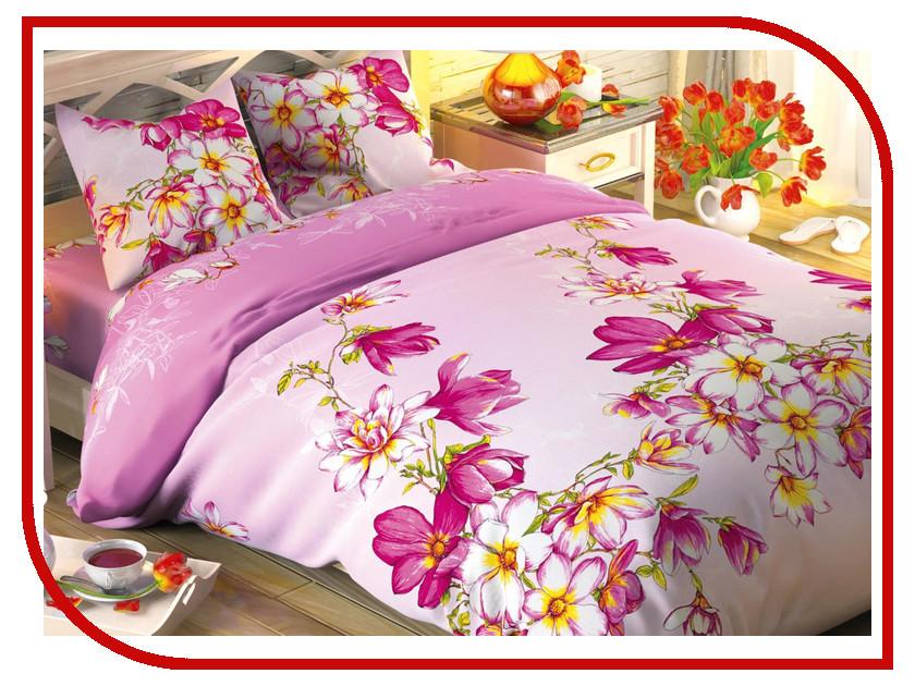 Постельное белье Этель Розовая магнолия Комплект 1.5 спальный Поплин 1444226