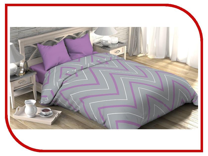 Постельное белье Этель Сиренево-серые зигзаги Комплект 1.5 спальный Поплин 2565822