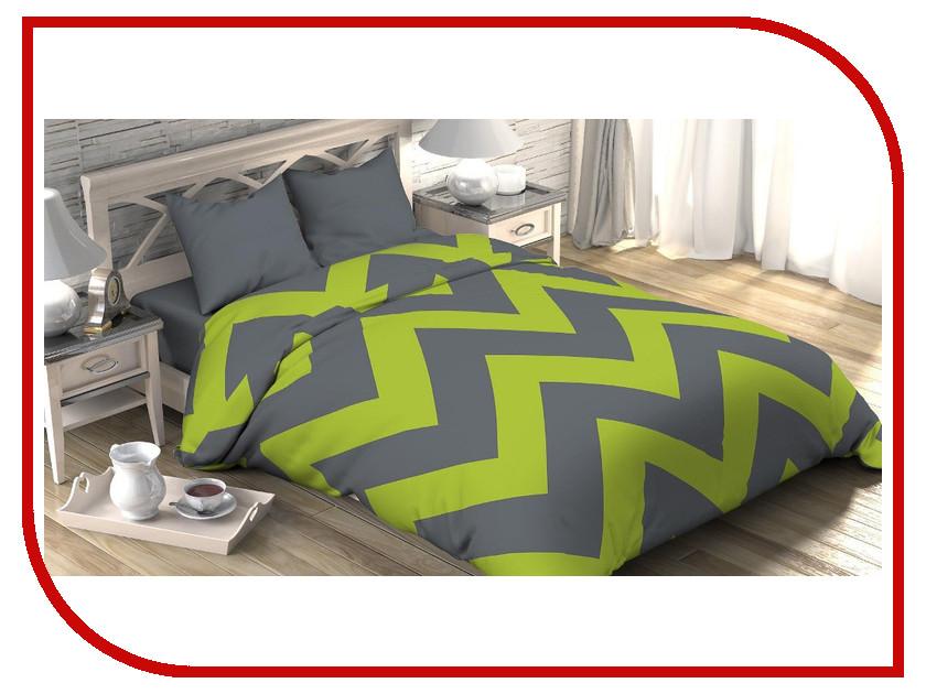 Постельное белье Этель Зелёный шеврон Комплект 1.5 спальный Поплин 2565782