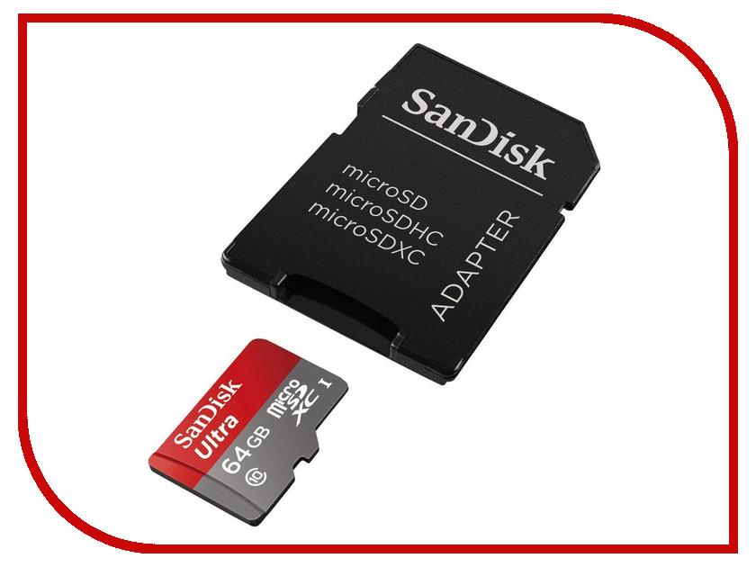 Карта памяти 64Gb - SanDisk Ultra microSDXC A1 UHS-I Class 10 SDSQUAR-064G-GN6IA с переходником под SD карта памяти 64gb sandisk nintendo switch microsdxc uhs i sdsqxat 064g gn6za