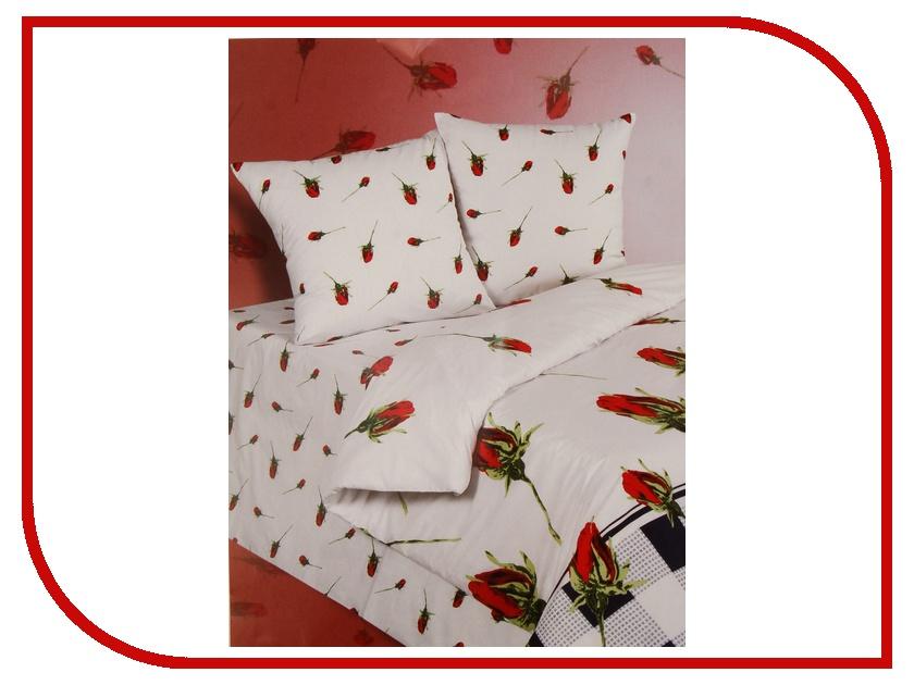 Постельное белье Экзотика Бутон Комплект Евро Поплин постельное белье экзотика адель комплект 1 5 спальный поплин