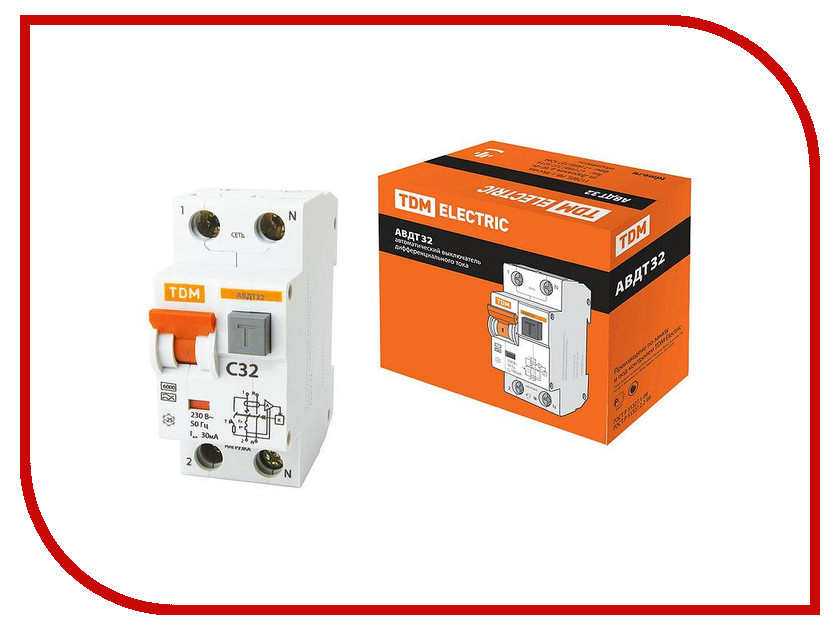 Дифференциальный автомат TDM-Electric АВДТ 32 C32 30мА SQ0202-0032 автомат дифференциальный 1p n 20а тип c 30ма 6ka иэк авдт 32