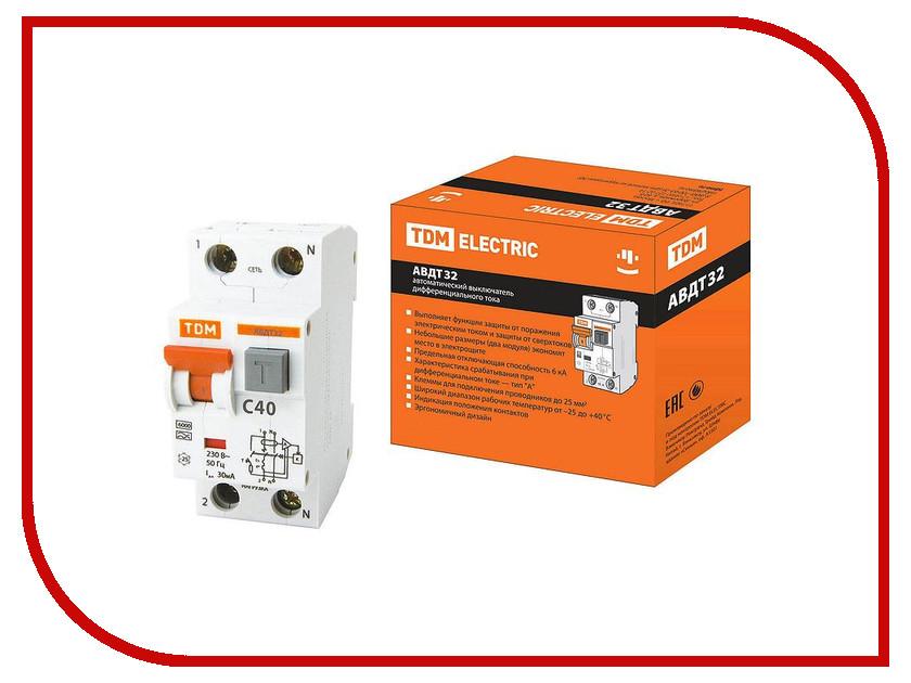 Дифференциальный автомат TDM-Electric АВДТ 32 C40 30мА SQ0202-0033 автомат дифференциальный 1p n 20а тип c 30ма 6ka иэк авдт 32