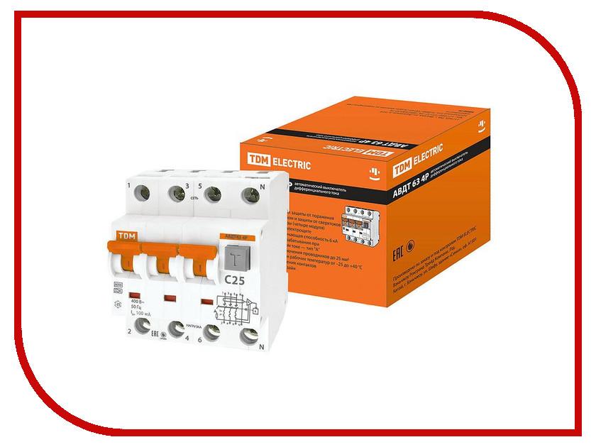Дифференциальный автомат TDM-Electric АВДТ 63 4P C25 100мА SQ0202-0022 автоматический выключатель tdm ва47 63 3р 32а sq0218 0022