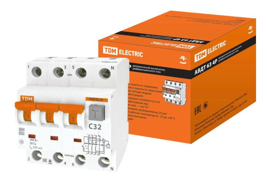 Дифференциальный автомат TDM-Electric АВДТ 63 4P C32 300мА SQ0202-0027 цена