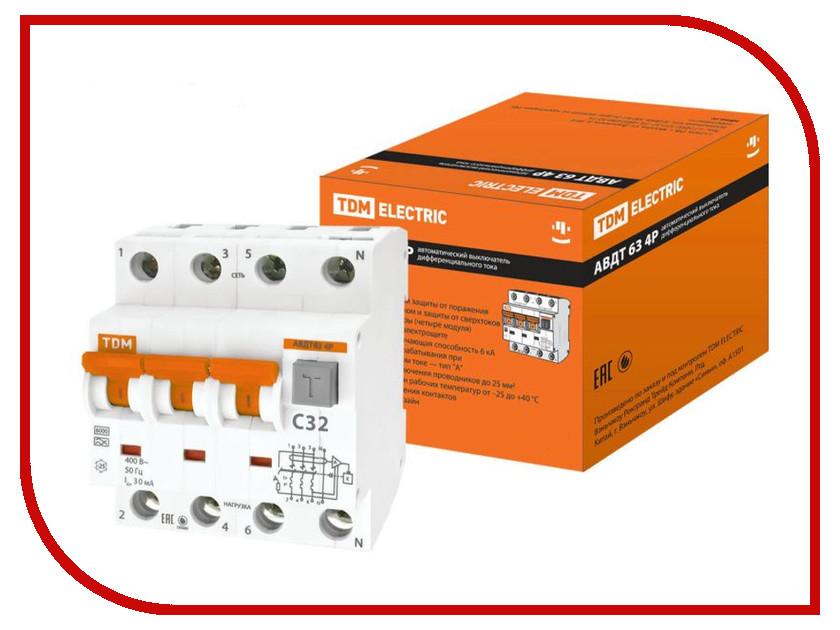 Дифференциальный автомат TDM-Electric АВДТ 63 4P C32 30мА SQ0202-0019 авдт 63 4p c32 30ма tdm sq0202 0019 автоматический выключатель дифференциального тока