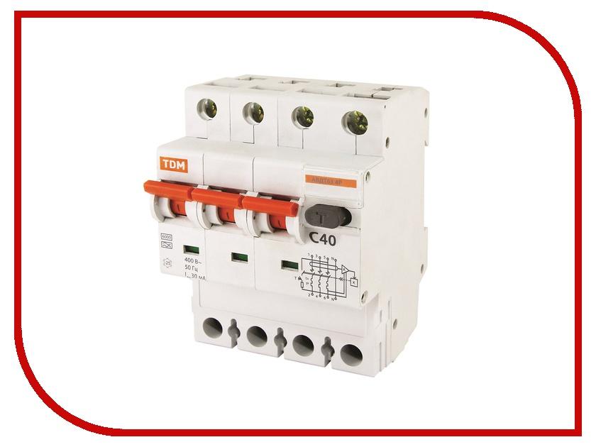 Дифференциальный автомат TDM-Electric АВДТ 63 4P C40 100мА SQ0202-0024 12 63 tw007ewnef36