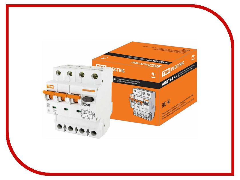 Дифференциальный автомат TDM-Electric АВДТ 63 4P C40 30мА SQ0202-0020 авдт 63 4p c32 30ма tdm sq0202 0019 автоматический выключатель дифференциального тока