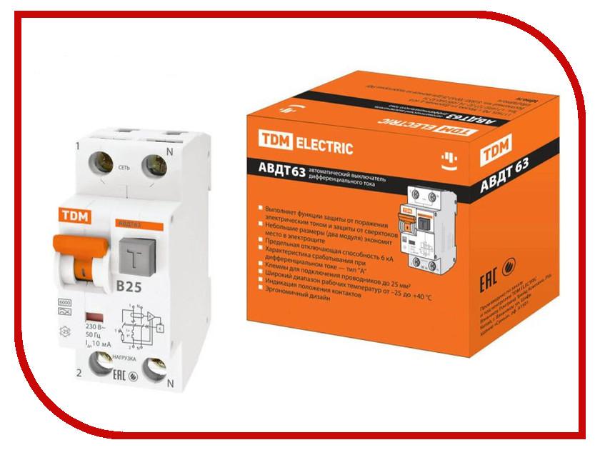 Дифференциальный автомат TDM-Electric АВДТ 63 B25 10мА SQ0202-0010 автоматический выключатель дифференциального тока tdm авдт 63 b 16а 10ма sq0202 0009