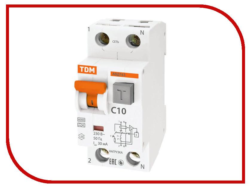 Дифференциальный автомат TDM-Electric АВДТ 63 C10 30мА SQ0202-0001 автоматический выключатель дифференциального тока tdm авдт 63 b 16а 10ма sq0202 0009