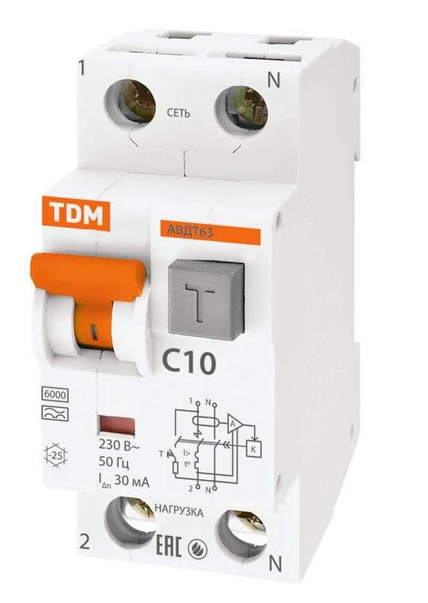 Дифференциальный автомат TDM-Electric АВДТ 63 C10 30мА SQ0202-0001 цена