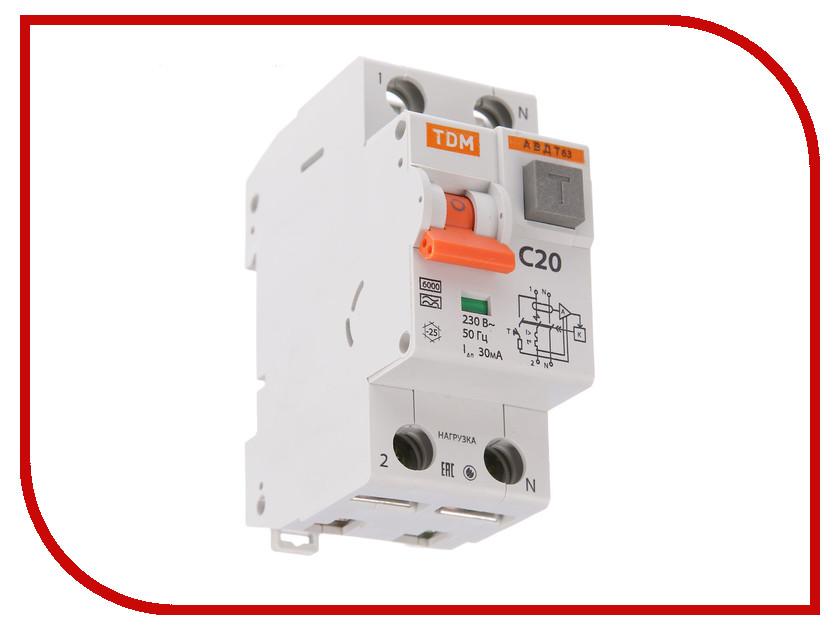 Дифференциальный автомат TDM-Electric АВДТ 63 C20 30мА SQ0202-0003 автомат tdm sq0218 0003