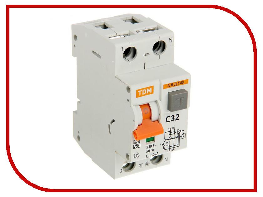 Дифференциальный автомат TDM-Electric АВДТ 63 C32 30мА SQ0202-0005 диф автомат tdm sq0204 0044