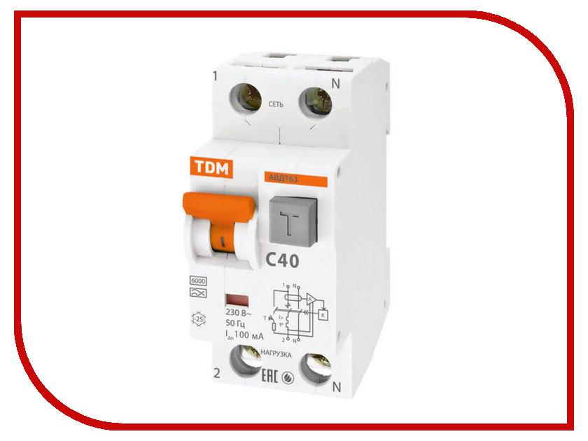 Дифференциальный автомат TDM-Electric АВДТ 63 C40 100мА SQ0202-0008 авдт 64 tdm sq0205 0008 дифавтомат