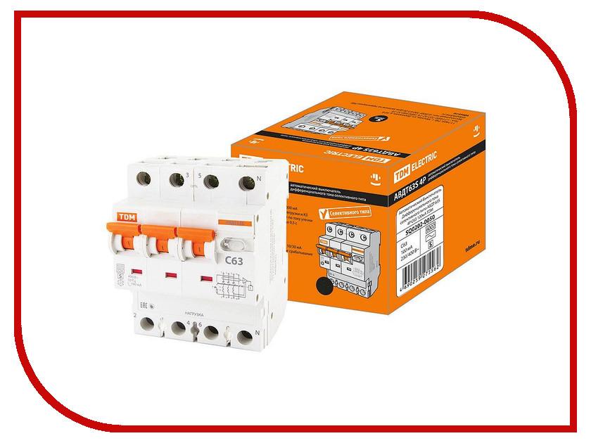 Дифференциальный автомат TDM-Electric АВДТ 63S 4P C63 100мА SQ0202-0050 автоматический выключатель дифференциального тока tdm авдт 63 b 16а 10ма sq0202 0009