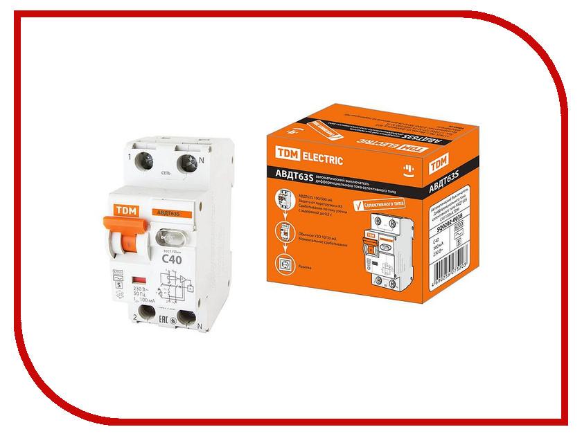 Дифференциальный автомат TDM-Electric АВДТ 63S C40 100мА SQ0202-0038 автоматический выключатель дифференциального тока tdm авдт 63 b 16а 10ма sq0202 0009