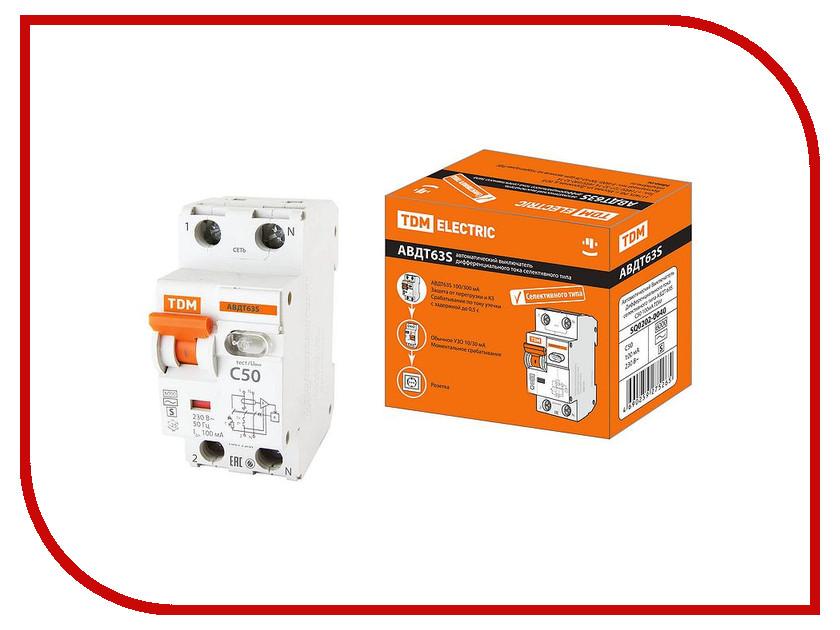 Дифференциальный автомат TDM-Electric АВДТ 63S C50 100мА SQ0202-0040 автоматический выключатель дифференциального тока tdm авдт 63 b 16а 10ма sq0202 0009