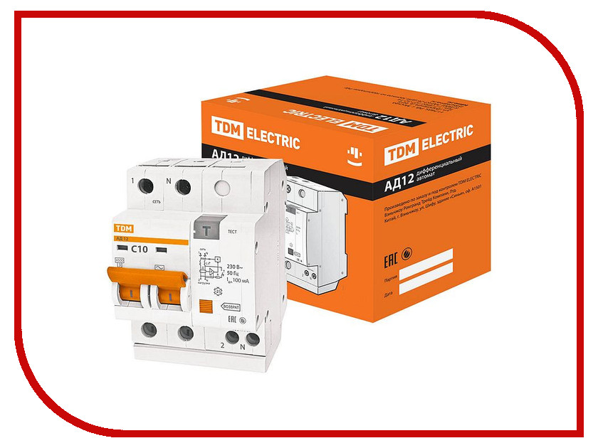 Дифференциальный автомат TDM-Electric АД12 2Р 10А 100мА SQ0204-0004 ад12 tdm sq0204 0002 дифавтомат
