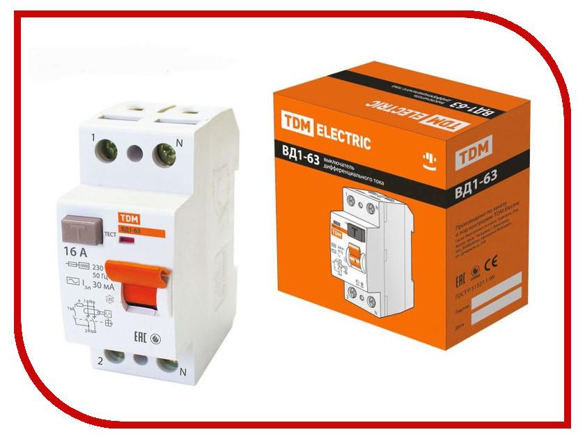 УЗО TDM-Electric ВД1-63 2Р 16А 30мА тип А SQ0203-0074 стабилизатор tdm electric снр1 1 1 sq1201 0002