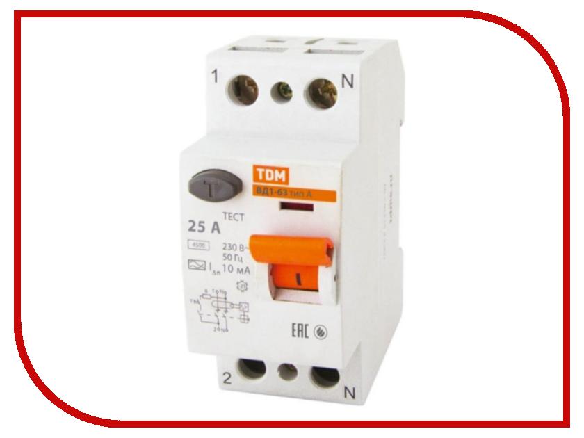 УЗО TDM-Electric ВД1-63 2Р 25А 10мА тип А SQ0203-0075 tdm sq0203 0004 вд1 63 узо