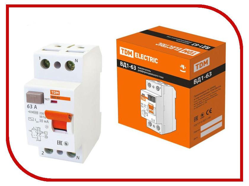 УЗО TDM-Electric ВД1-63 2Р 63А 30мА тип А SQ0203-0080 автоматический выключатель tdm ва47 63 2р 32а sq0218 0013