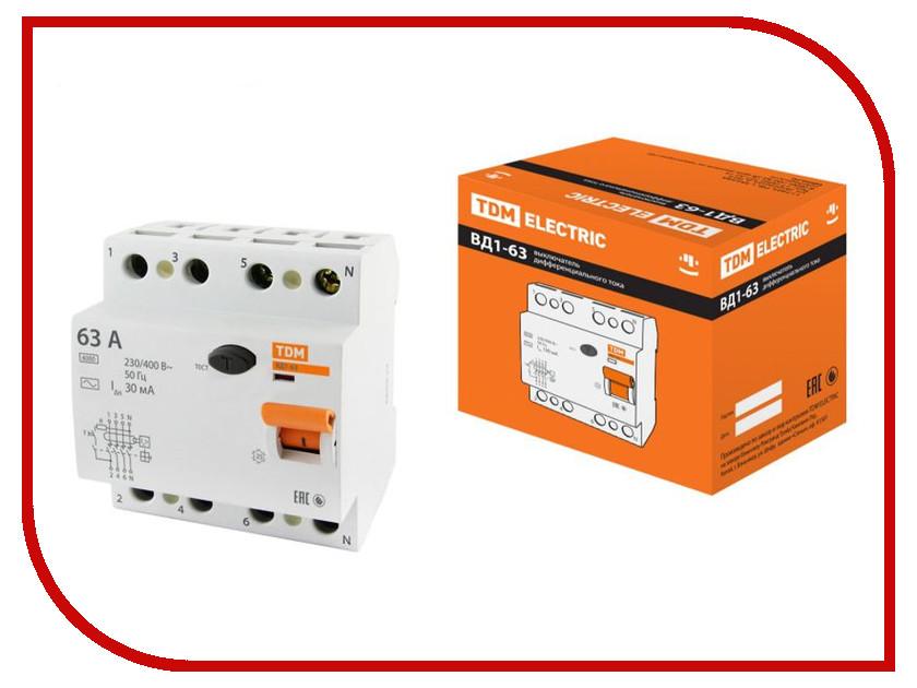 УЗО TDM-Electric ВД1-63 4Р 63А 30мА тип А SQ0203-0090 автоматический выключатель tdm ва47 29 4р 13а 4 5ка в sq0206 0057