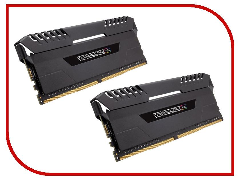 Модуль памяти Corsair Vengeance RGB DDR4 DIMM 2666MHz PC4-21300 CL16 - 32Gb KIT (2x16Gb) CMR32GX4M2A2666C16 корпус corsair obsidian series 350d window cc 9011029 ww