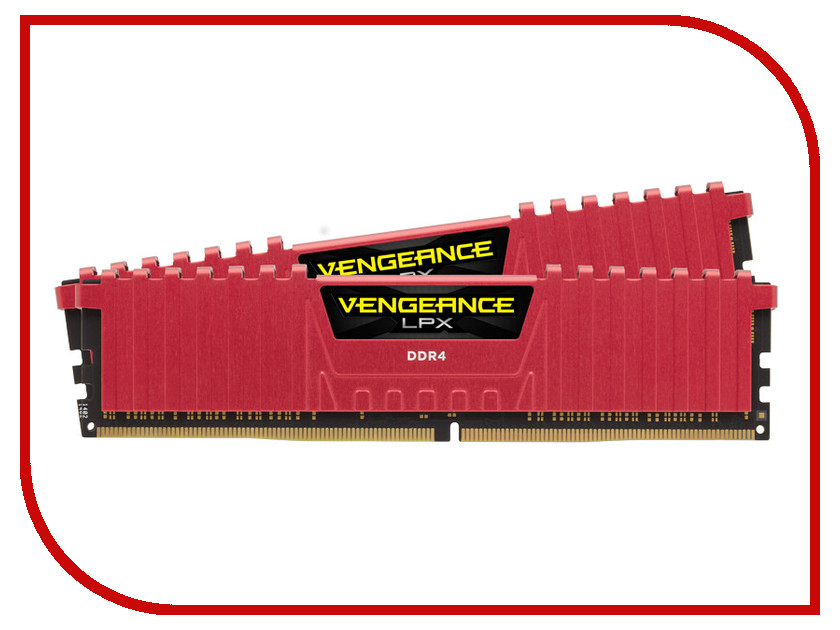 Фото Модуль памяти Corsair Vengeance LPX Red DDR4 DIMM 3466MHz PC4-27700 CL16 - 32Gb KIT (2x16Gb) CMK32GX4M2B3466C16R