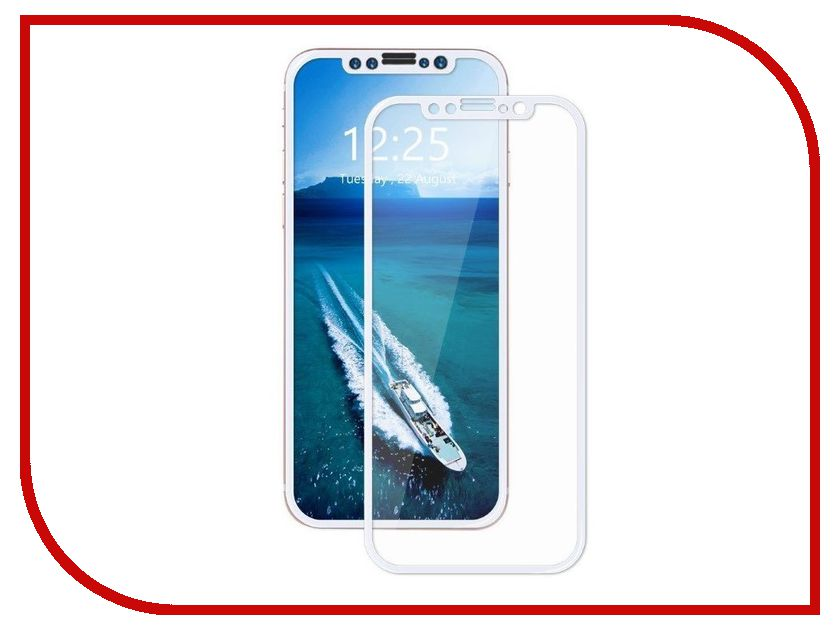 Аксессуар Защитное стекло Krutoff Group 3D для APPLE iPhone X White 20416 аксессуар защитное стекло krutoff 3d для apple iphone 7 plus white 20224