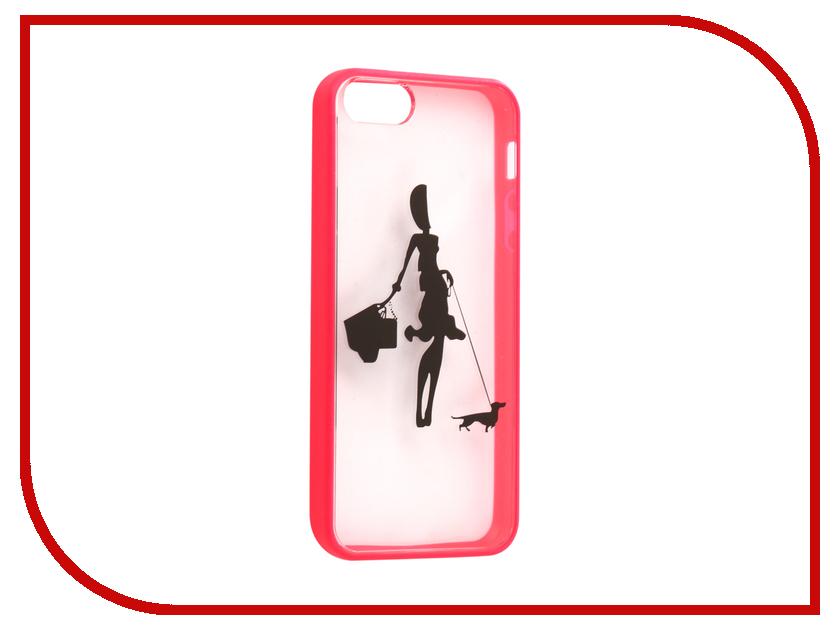 Аксессуар Чехол Ainy для iPhone 5 / 5S Девушка с собакой Transparent-Pink QF-A012D чехол универсальный ainy