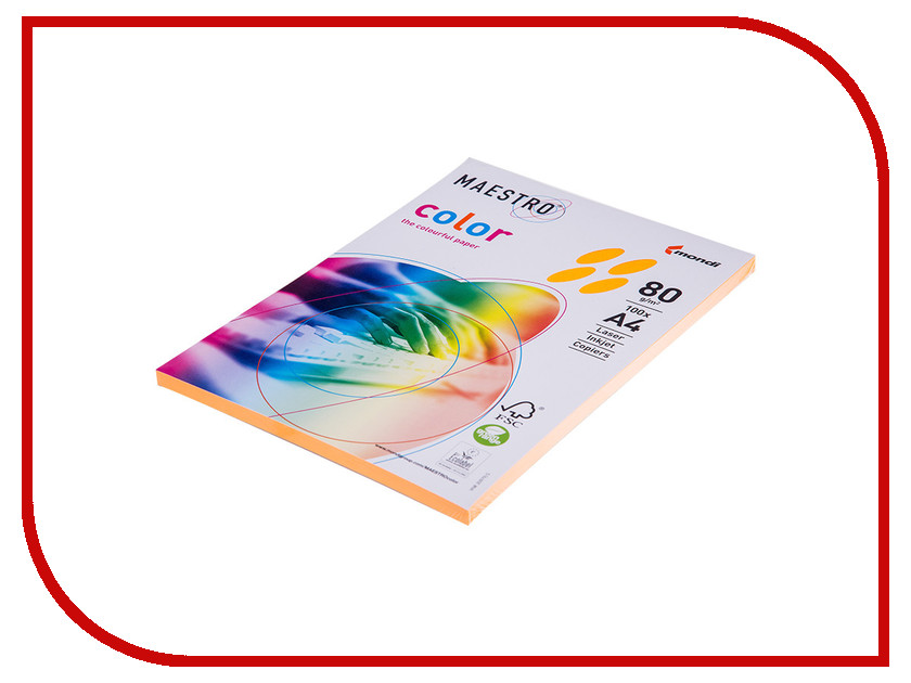 Бумага Maestro Color Neon A4 80g/m2 100л Orange Neoor 102424 maestro grand