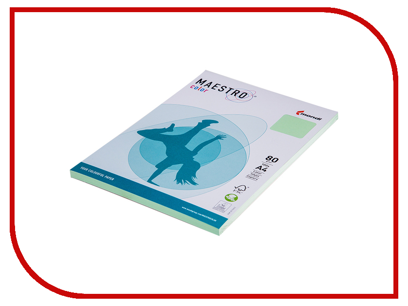Бумага Maestro Color Pale A4 80g/m2 100л Green MG28 102475