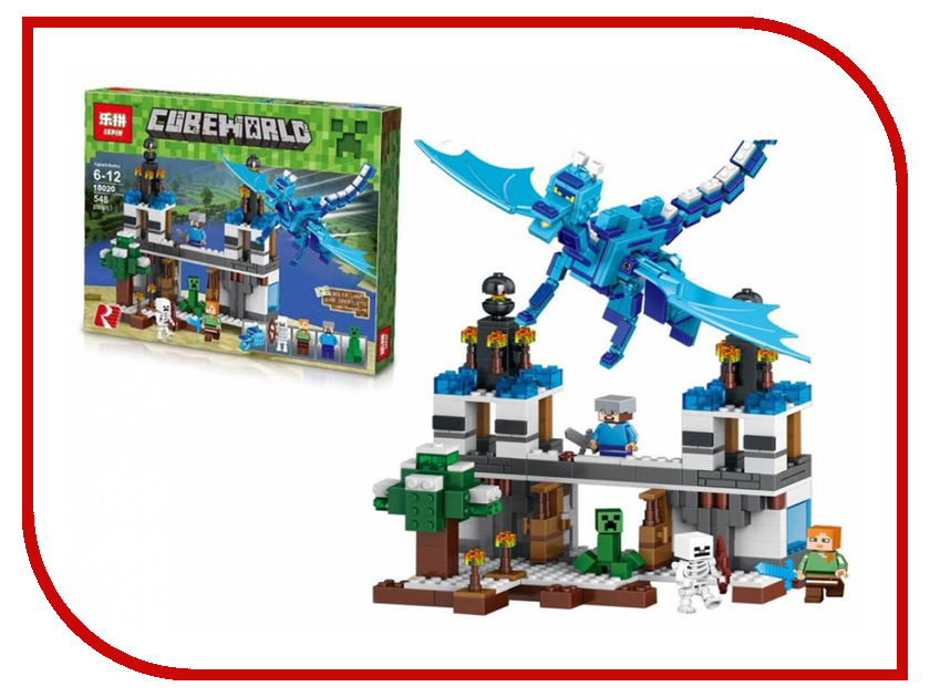 Конструктор Lepin Cubeworld Нападение Голубого Дракона 548 дет. 18020 конструктор lepin fairytale сказочный замок спящей красавицы 360 дет 25012