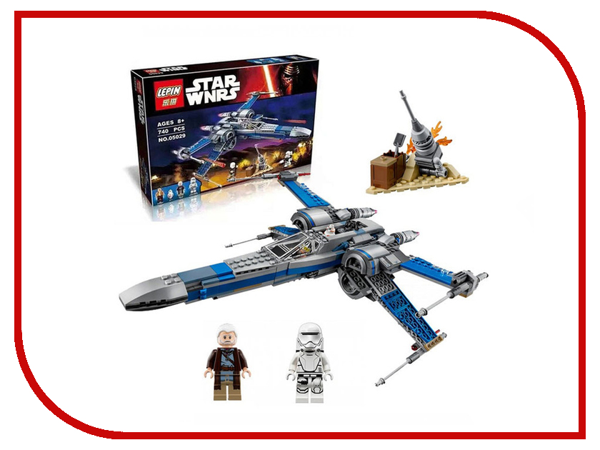 Конструктор Lepin Star Wnrs Истребитель сопротивления X-Wing Fighter 740 дет. 05029 lepin 05040 star series wars y star wing attack fighter building assembled block brick diy toy compatible 10134 educational gift