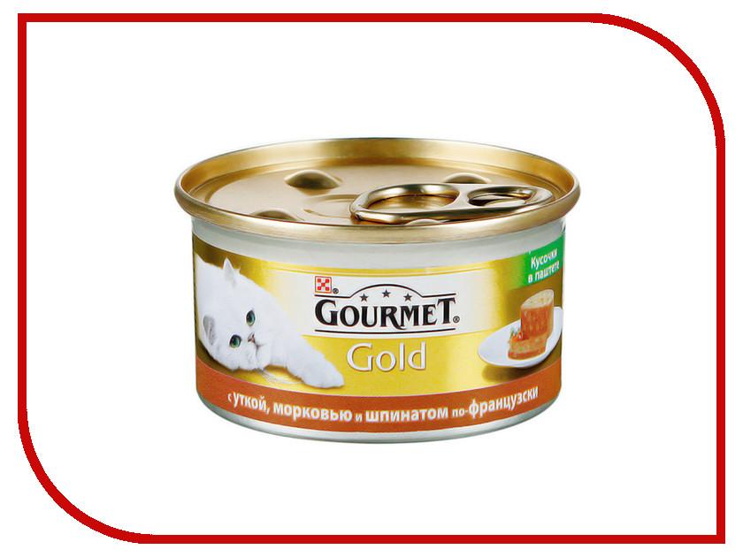 Корм Gourmet Gold Террин с Уткой Морковью и Шпинатом по Французки кусочки в Паштете 85g для кошек 57032