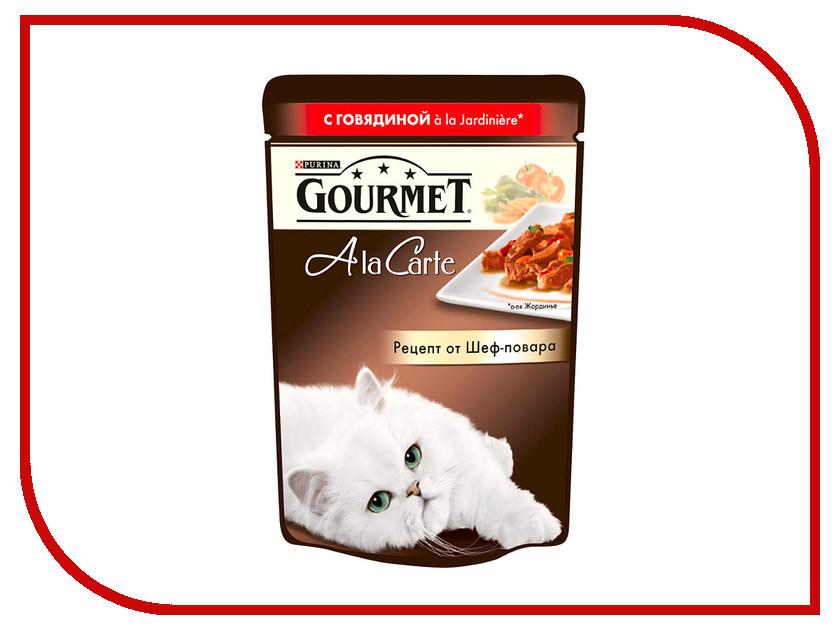 Корм Gourmet A la Carte Говядина с Морковью Томатом и Цукини а-ля Жардинье 85g для кошек 56583
