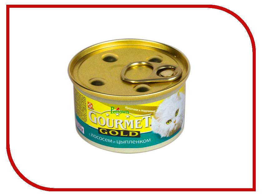 Корм Gourmet Gold Лосось Цыплёнок кусочки в подливке 85g для кошек 19245 корм gourmet gold тунец паштет 85g для кошек 61722