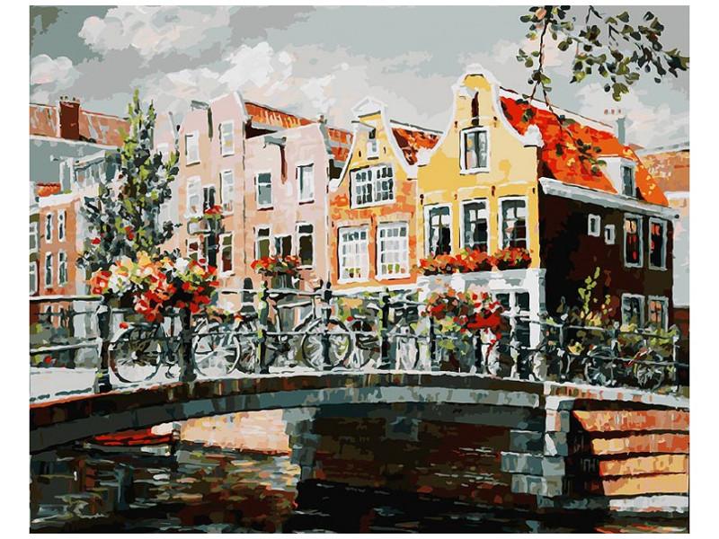 Раскраска по номерам Белоснежка Амстердам. Мост через канал 119-AB картина по номерам белоснежка прыгающие карпы 005 ab