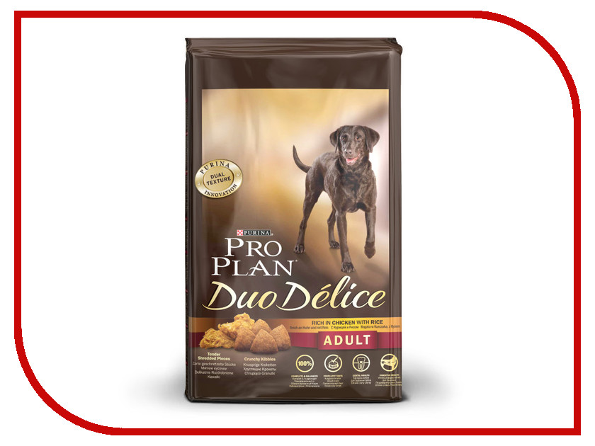 Корм Pro Plan Duo Delice Adult Курица с Рисом 2.5kg для собак 53733 корм сухой pro plan duo delice для собак мелких и карликовых пород с лососем и рисом 2 5 кг