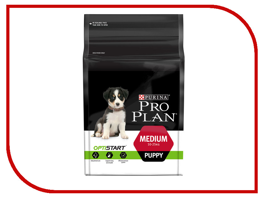 Корм Pro Plan Puppy Medium Optistart Курица 1.5kg для щенков средних пород 10 - 25kg 66736 корм для собак pro plan athletic для крупных пород курица сух 14кг