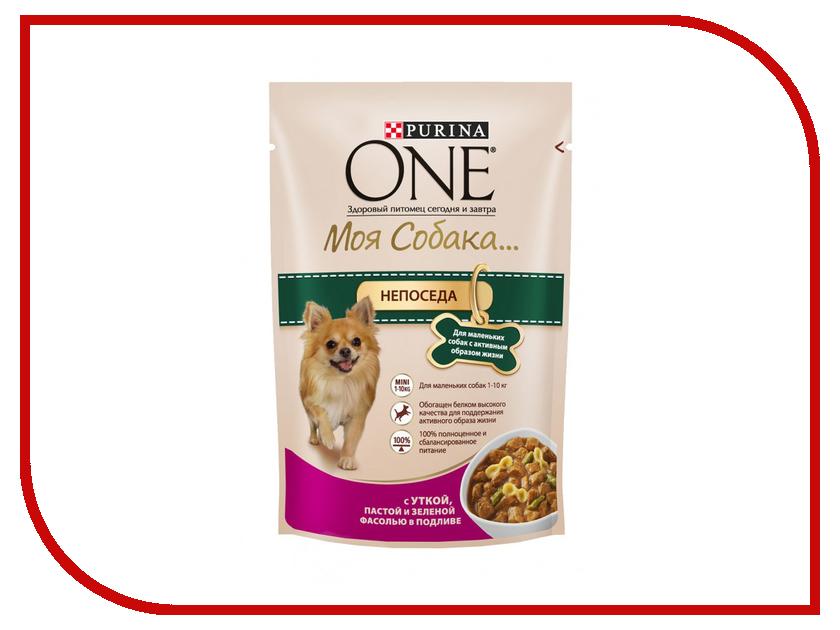 Корм Purina ONE Моя Собака Непоседа Утка Паста Зелёная Фасоль в подливе 100g для маленьких собак с активным образом жизни 65642