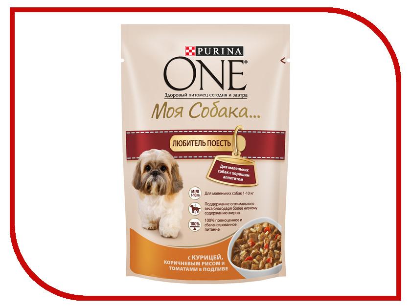 Корм Purina ONE Моя Собака Любитель поесть Курица Коричневый Рис Томаты в подливе 100g для маленьких собак с хорошим аппетитом 60003 / 67161